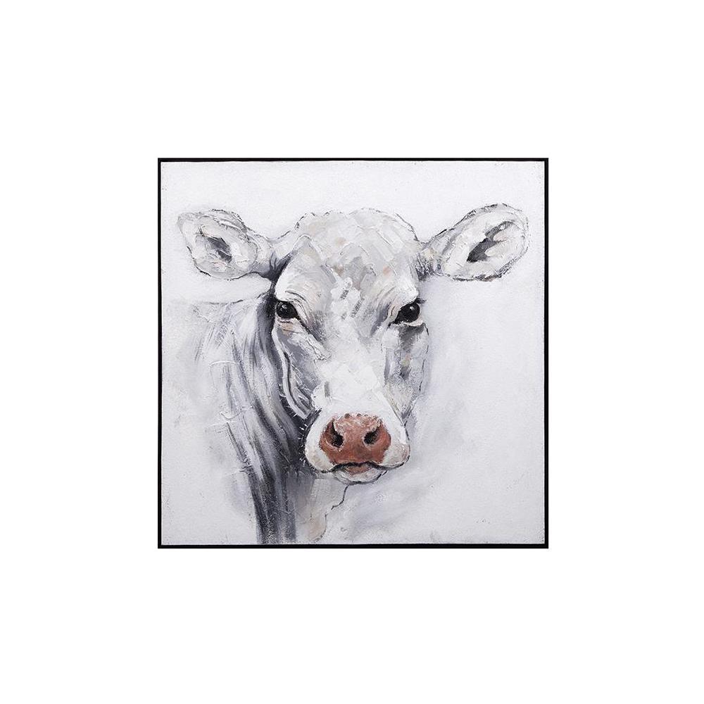 "40.5 in. x 40.5 in. ""White Cow"" Framed Wall Art"