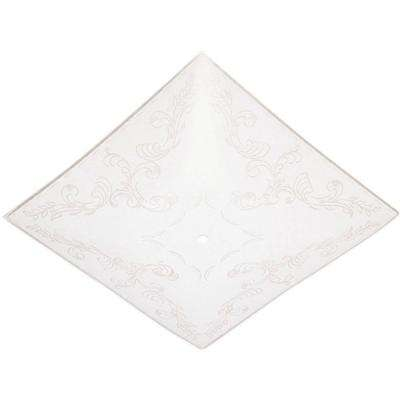 11-3/4 in. Square Glass Diffuser Clear Floral Design on White with 1-1/2 in. Depth