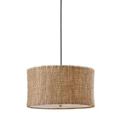 3-Light Natural Drum Pendant