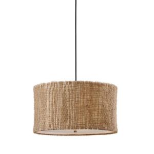Delightful 3 Light Natural Drum Pendant Home Design Ideas