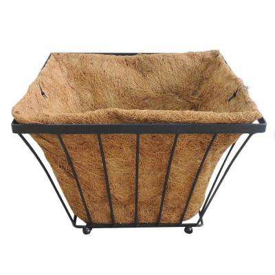 Solstice 18 in. Square Black Metal Coconut Planter