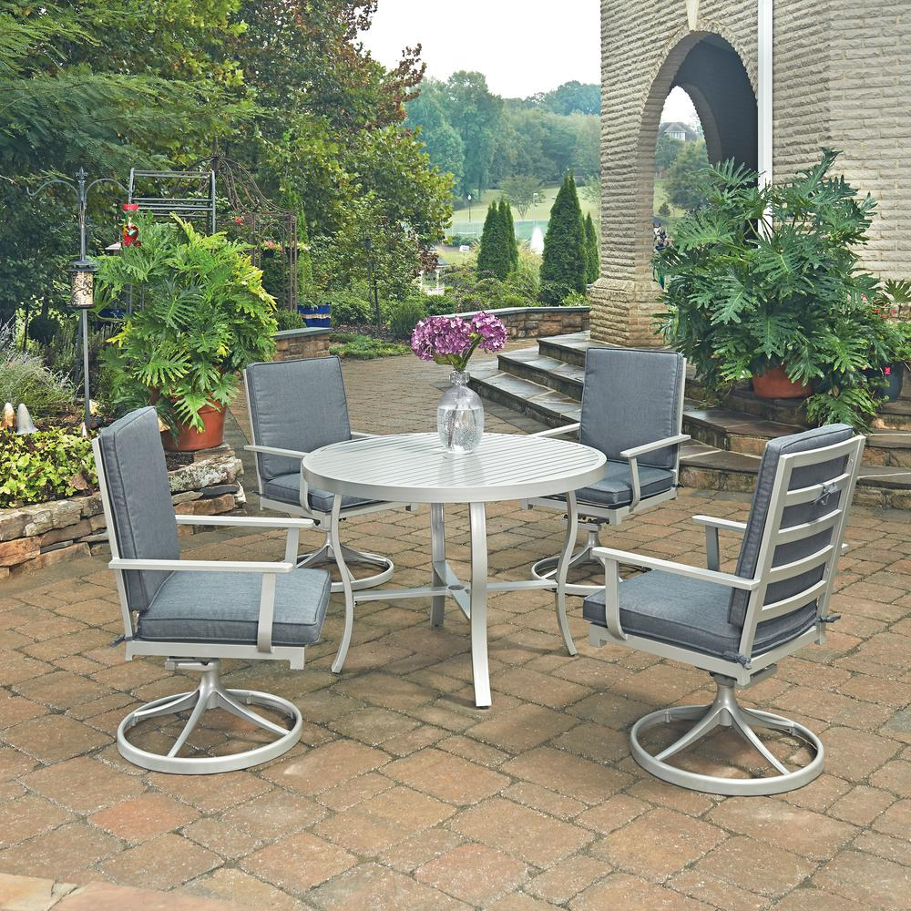 South Beach Grey 5-Piece Round Extruded Aluminum Outdoor Dining Set with