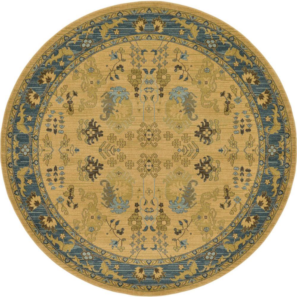 Unique Loom Edinburgh Hyacinth Tan 8' 0 x 8' 0 Round Rug