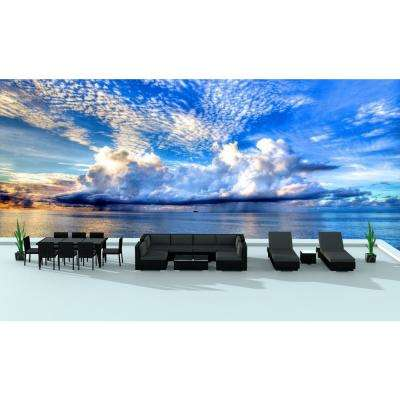 Black Series 19-Piece Wicker Outdoor Sectional Seating Set with Gray Cushions