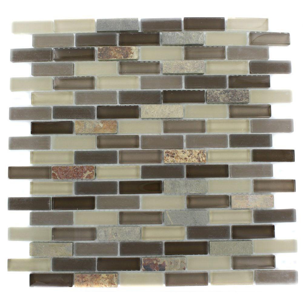 Splashback Tile Tectonic Brick Multicolor Slate and Khaki Blend 12 in. x 12 in. x 8 mm Glass Mosaic Floor and Wall Tile