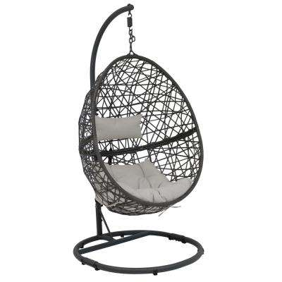 Caroline Resin Wicker Indoor/Outdoor Hanging Egg Patio Lounge Chair with Stand and Gray Cushions