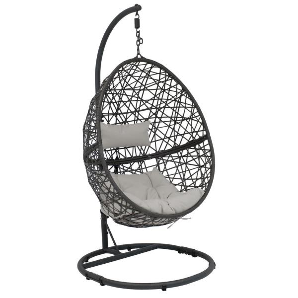 Sunnydaze Decor Caroline Resin Wicker Outdoor Hanging Egg Patio Lounge Chair With Stand And Gray Cushions Aj 758 The Home Depot