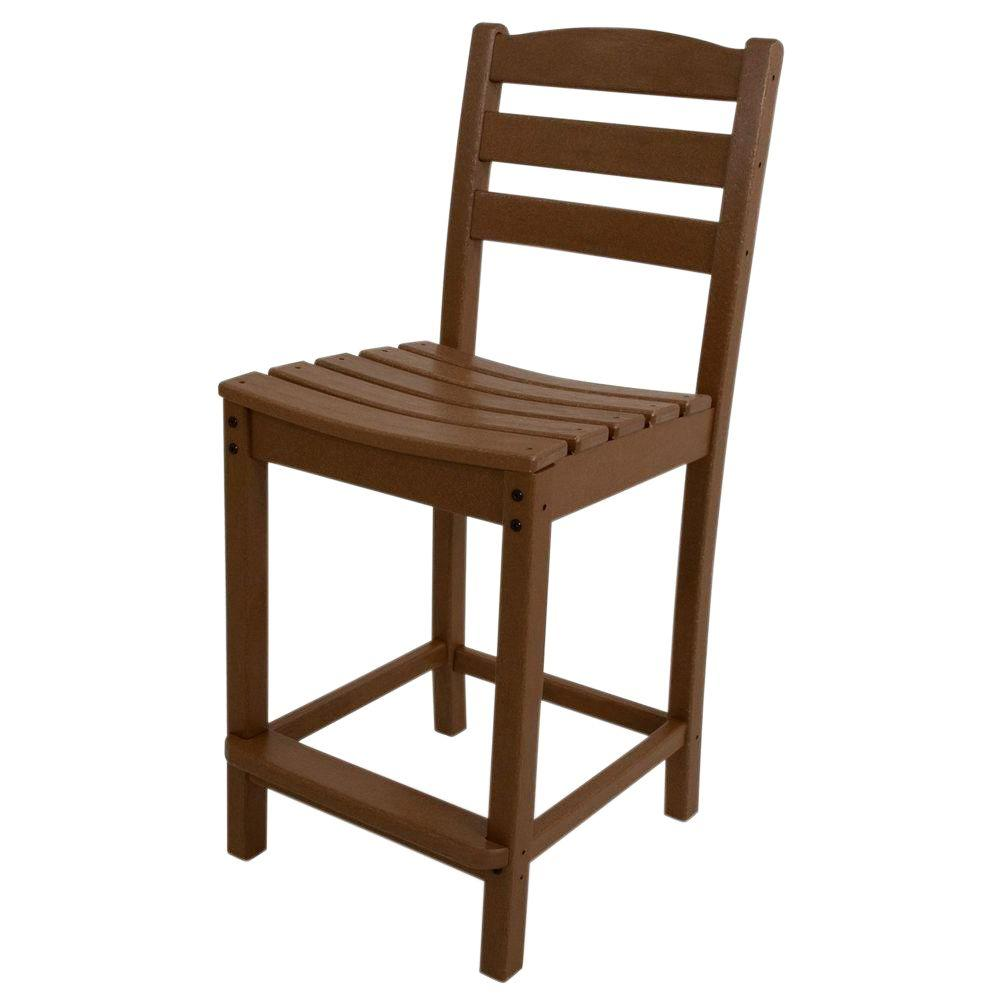 La Casa Cafe Teak Plastic Outdoor Patio Counter Side Chair
