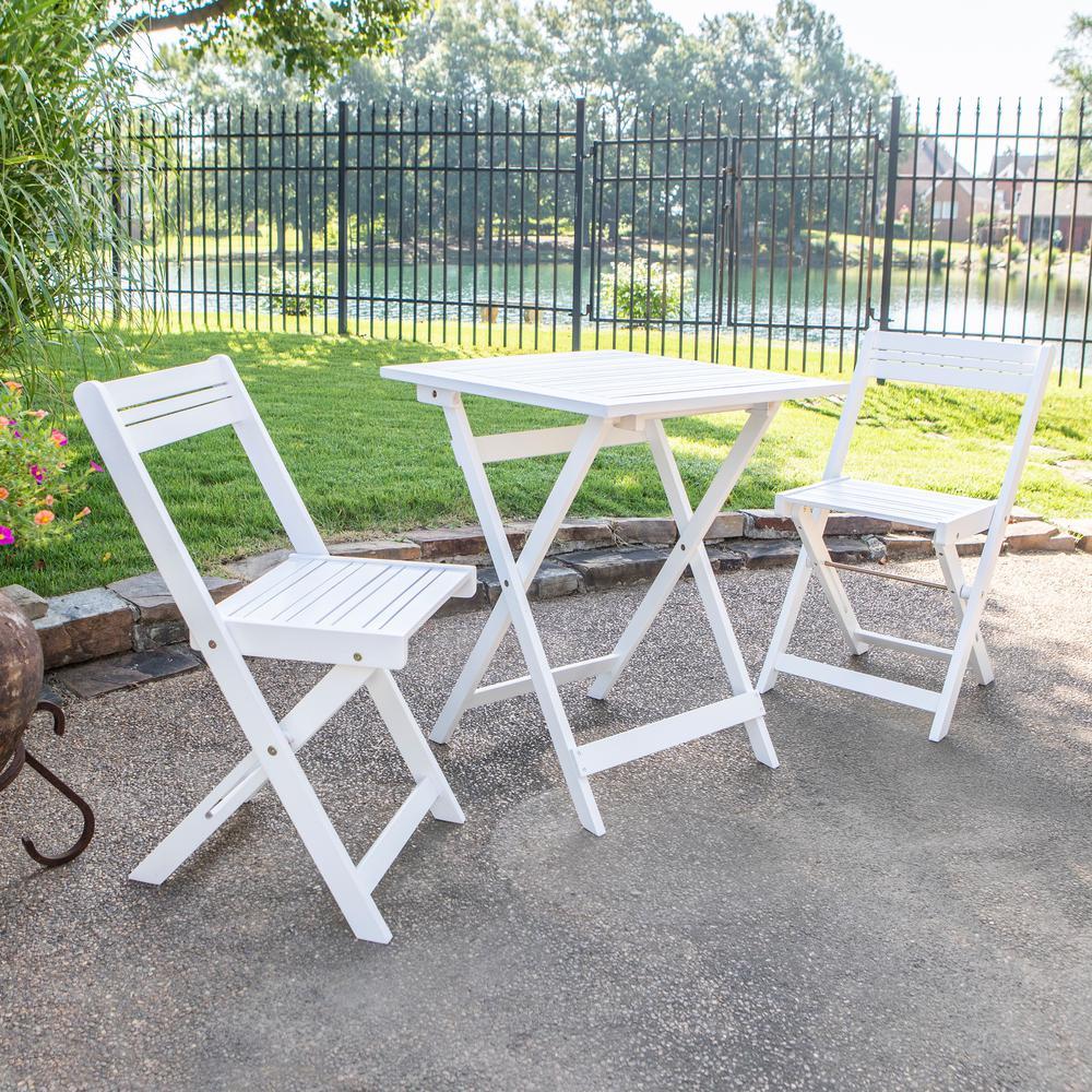 Oasis White 3-Piece Wood Outdoor Bistro Set