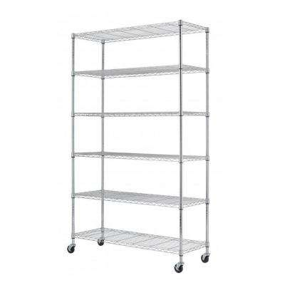 82 in. H x 48 in. W x 18 in. D 6-Tier Wire Adjustable Wheeled Shelving Rack in Chrome