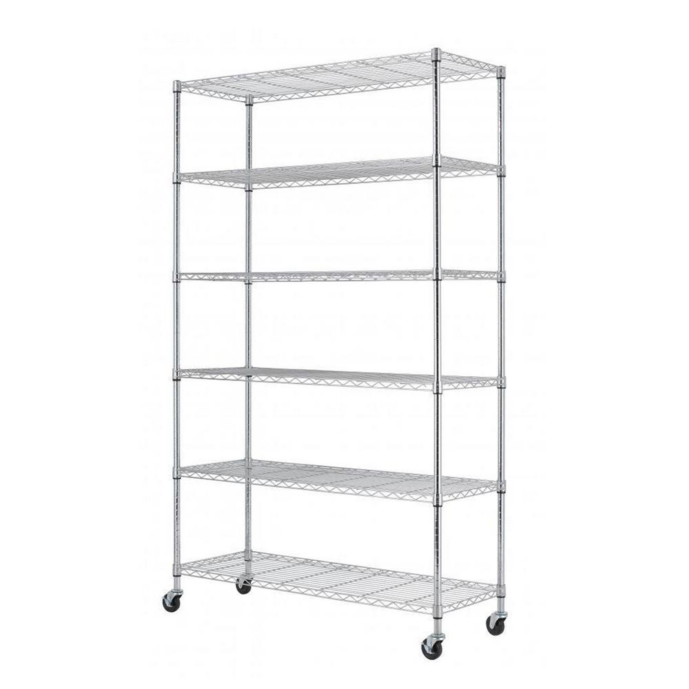 82 in h x 48 in w x 18 in d 6 tier wire adjustable wheeled shelving rack in chrome ws 776. Black Bedroom Furniture Sets. Home Design Ideas