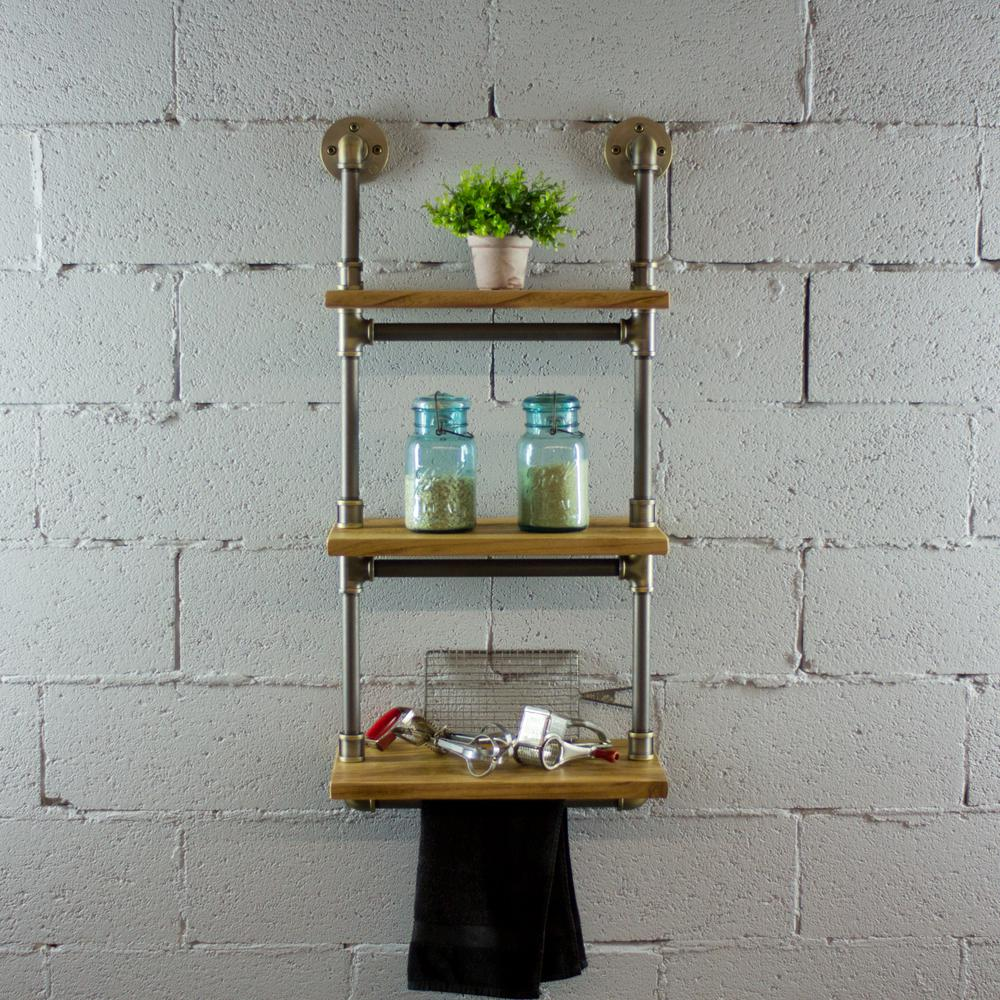 Black Steel Industrial Pipe Three Tiered Hanging Wall Shelf