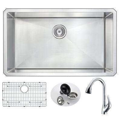 VANGUARD Undermount Stainless Steel 32 in. 0-Hole Single Bowl Kitchen Sink with Accent Faucet in Brushed Satin