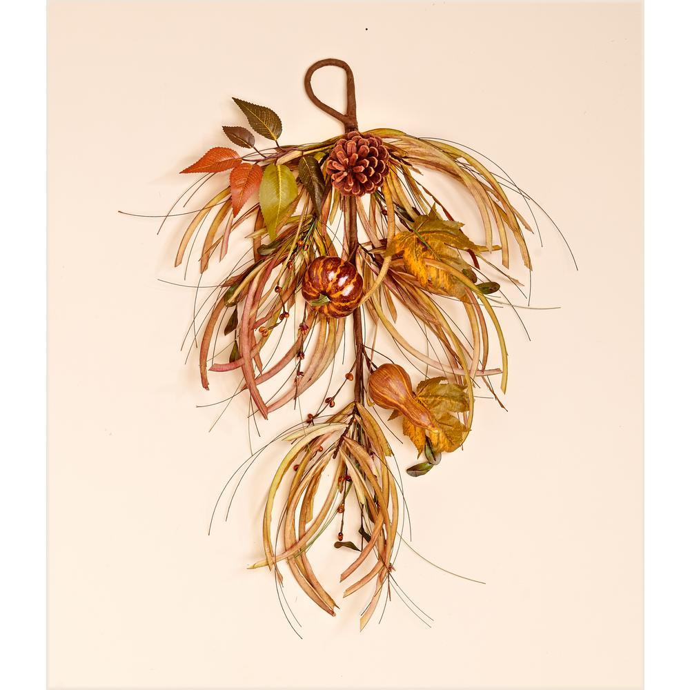 24 in. Gourd Leaf and Grass Teardrop