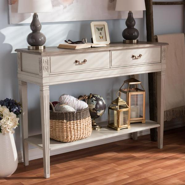 Baxton Studio Arte French Inspired White Console Table 28862-7187-HD