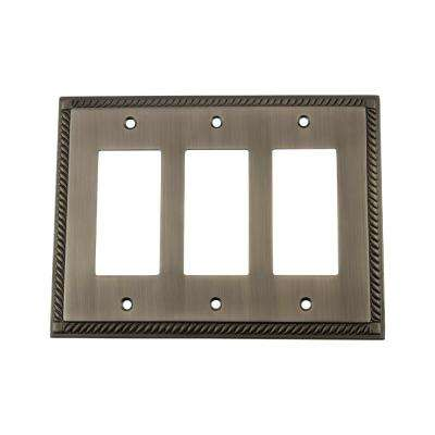 Rope Switch Plate with Triple Rocker in Antique Pewter