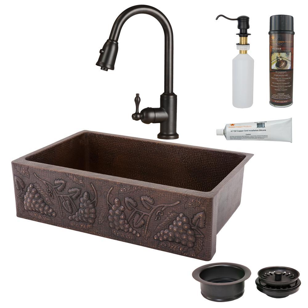 unique design of copper undermount sink kitchen   Premier Copper Products All-in-One Undermount Hammered ...