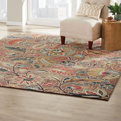 Elyse Taupe 5 ft. x 7 ft. Floral Area Rug