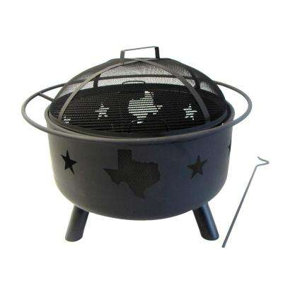 22 in. Round Steel Wood Coal Fire Pit with Texas and Map in Black