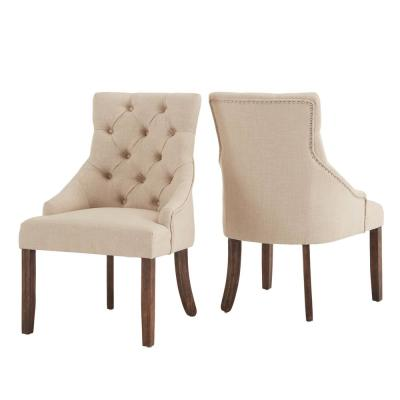 Beige Linen Curved Back Tufted Dining Chair (Set of 2)