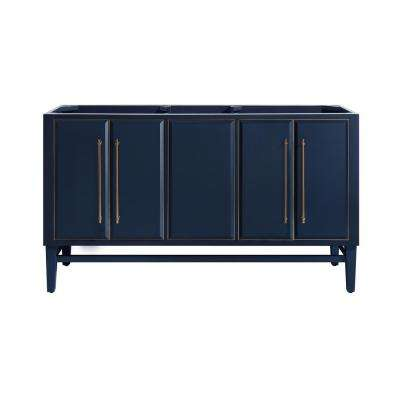 Mason 60 in. Bath Vanity Cabinet Only in Navy Blue with Gold Trim