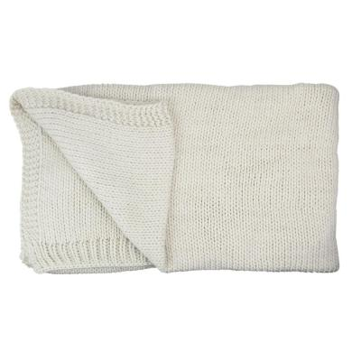 60 in. x 60 in. Ivory Super Plush Knitted Throw Blanket with Carrying Band