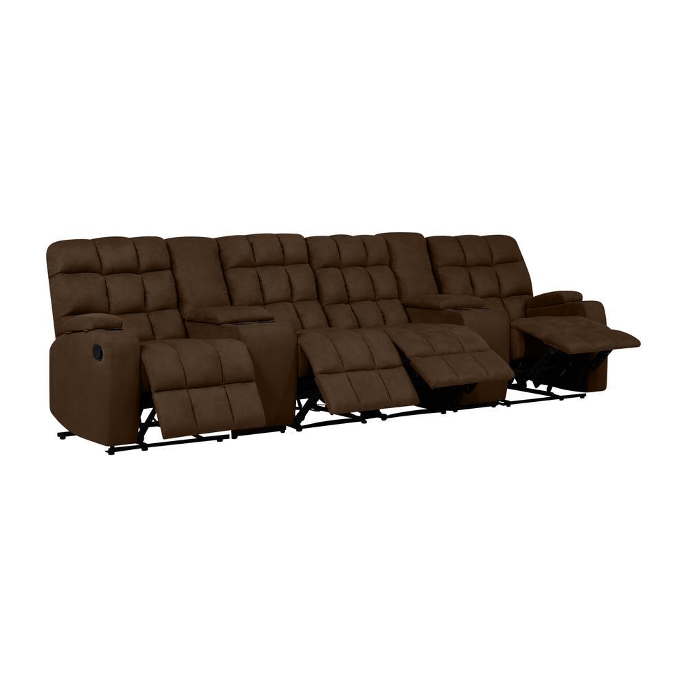 Prolounger Dark Brown Microfiber Wall Hugger Recliner Sofa Storage