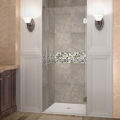 Cascadia 22 in. x 72 in. Completely Frameless Hinged Shower Door in Chrome with Clear Glass