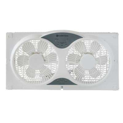 9 in. 3-Speed Expandable Reversible Twin Window Fan with Remote Control and Removable Cover and Bug Screen