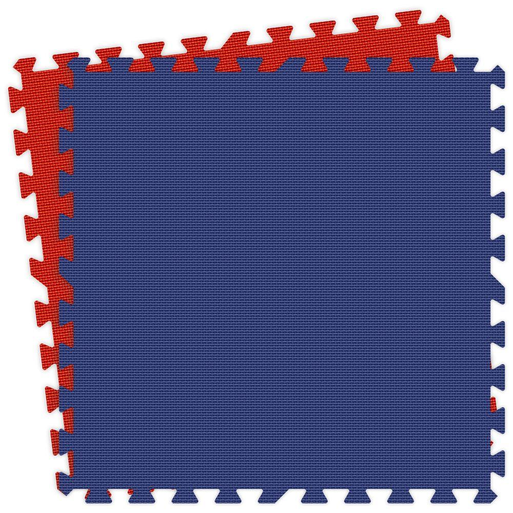 Groovy Mats Royal Blue and Red Reversible 24 in. x 24 in. Comfortable Mat (100 sq. ft. / case)