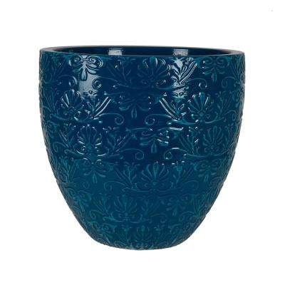 Fairfield 12 in. W x 10.4 in. H Teal Patina Resin Decorative Planter