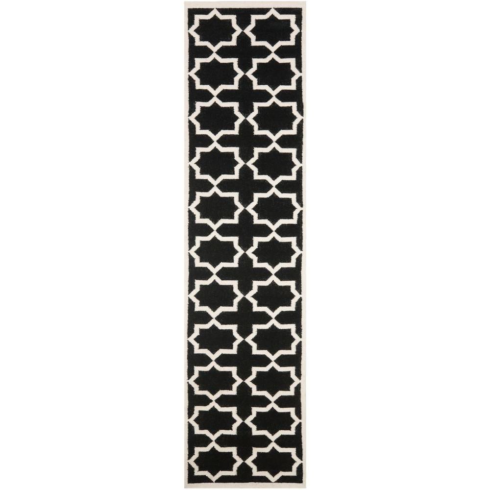 Dhurries Black/Ivory 2 ft. 6 in. x 10 ft. Runner
