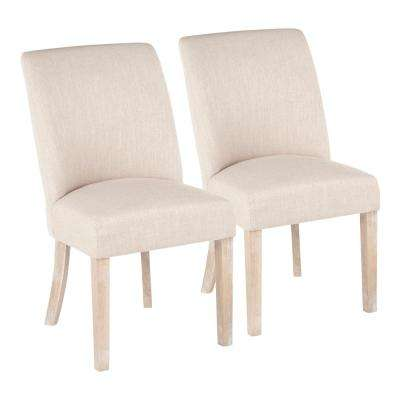 Tori Farmhouse White Washed Wood and Beige Fabric Dining Chair (Set of 2)