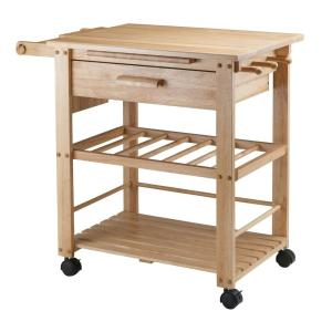 Winsome Wood Barton Bamboo Kitchen Cart With Drop Leaf 80434 The