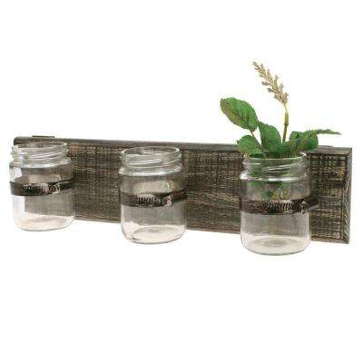 15 in. W Worn Wood Wall Decor with 3 Glass Containers