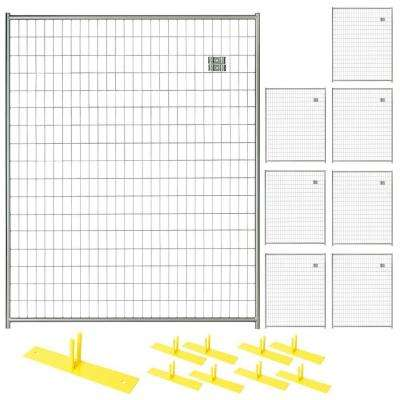 6 ft. x 40 ft. 8-Panel Silver Powder-Coated Welded Wire Temporary Fencing