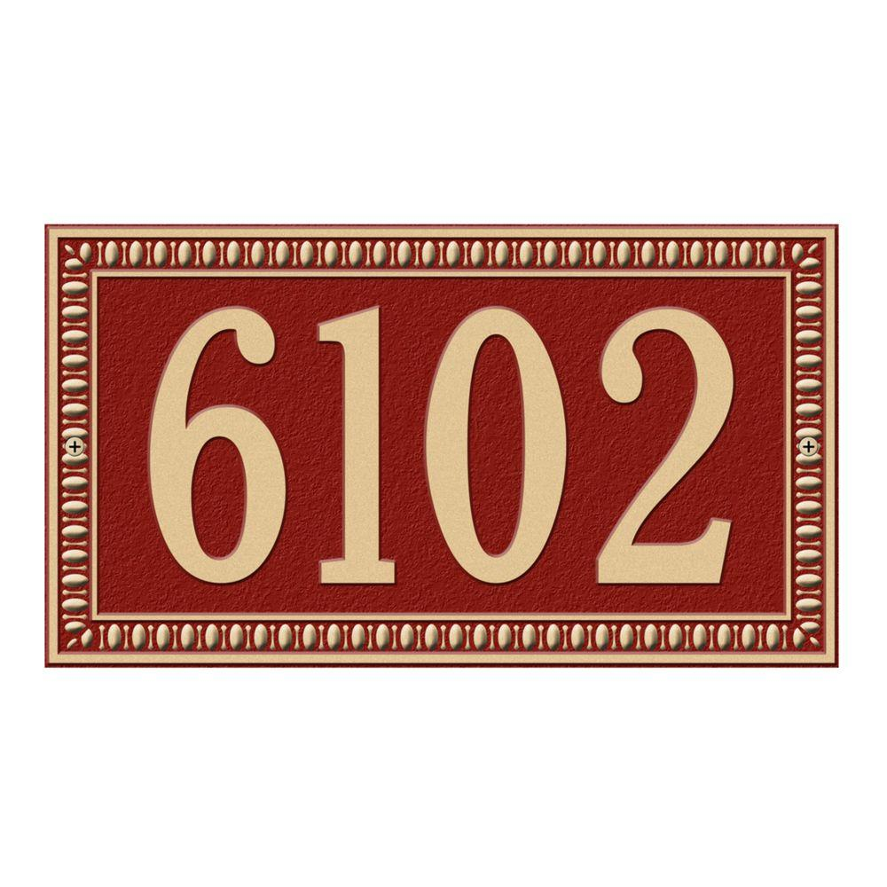Egg and Dart Rectangular Red/Gold Standard Wall One Line Address Plaque