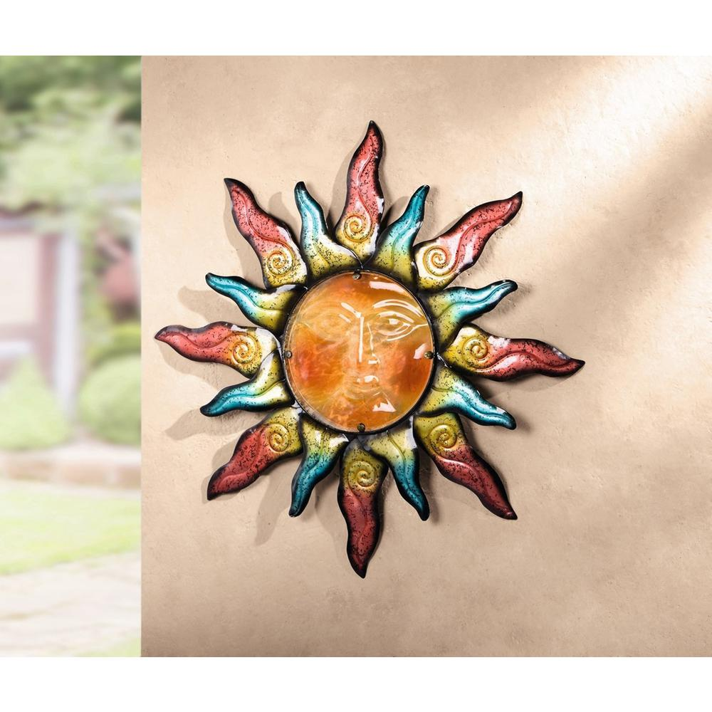 Colorful Wall Decor: Colorful 23.6 In. Round Swirling Sun Metal Wall Art