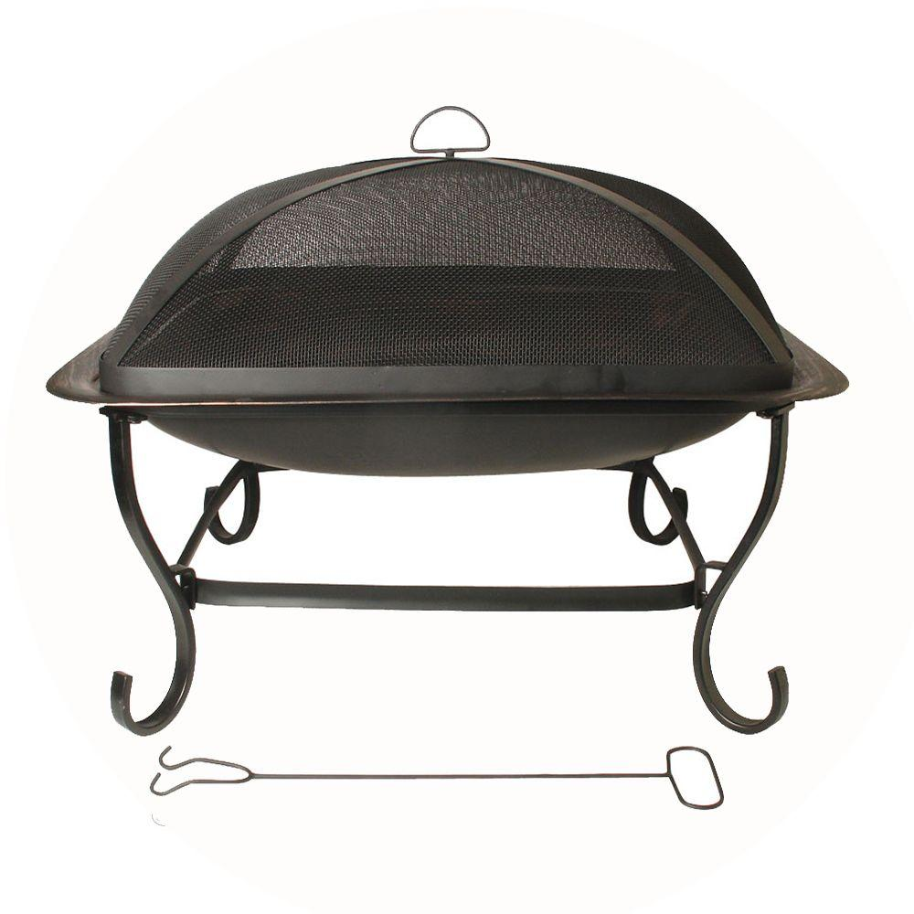 29 in. Square Steel Fire Pit in Black