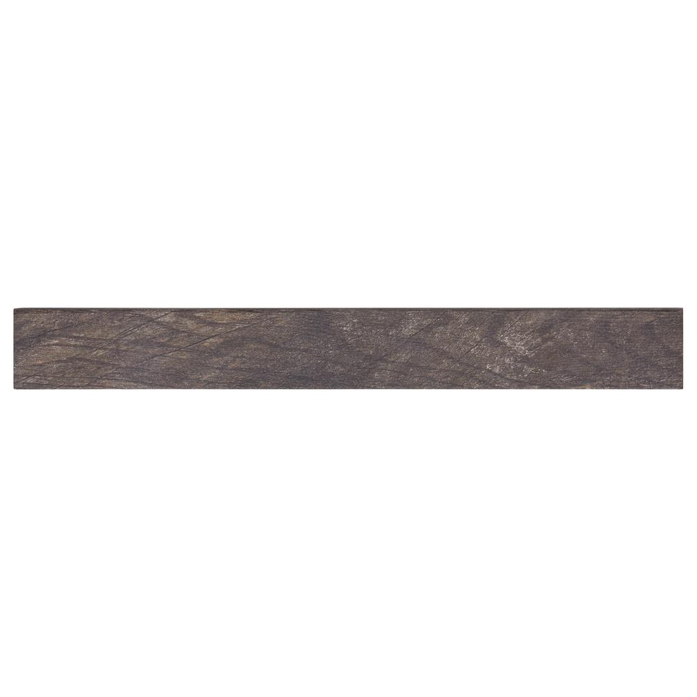Marazzi Montagna Smoky Black 3 in. x 24 in. Porcelain Floor and Wall Bullnose Tile (0.51 sq. ft. / piece)
