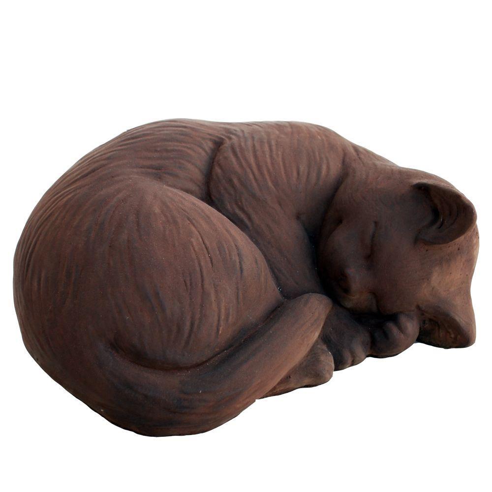 Cast Stone Small Curled Cat Garden Statue - Dark Walnut