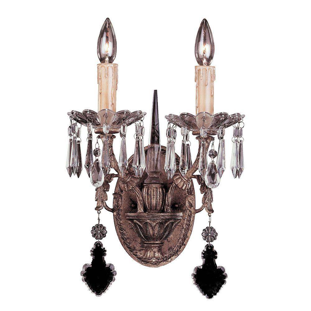 Illumine 2-Light Sconce Vintage Gold Finish Clear Full Cut Crystals