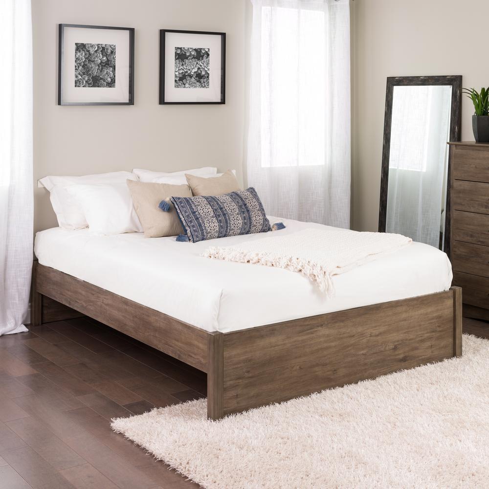 Prepac Select Drifted Gray Queen 4 Post Platform Bed Dbsq 1302 2k The Home Depot