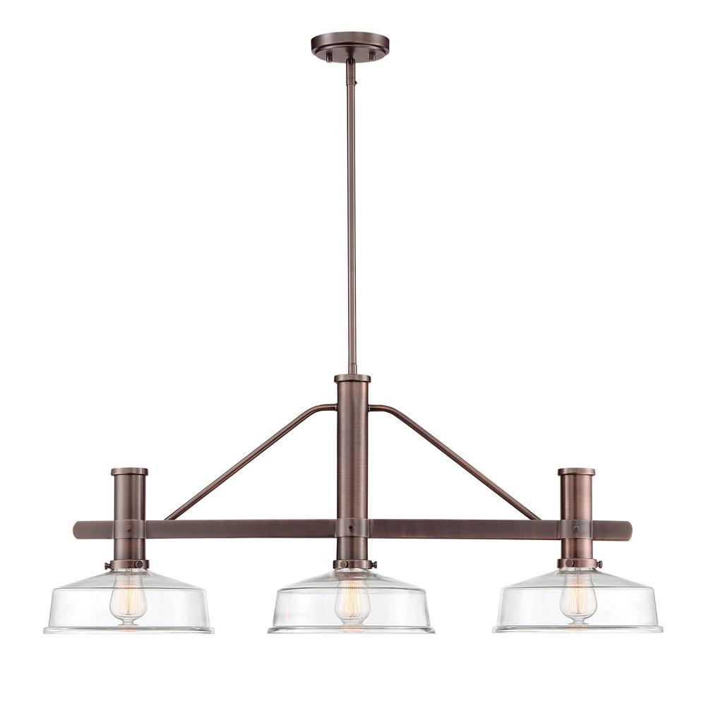 Carson 3-Light Satin Copper Bronze Island Pendant