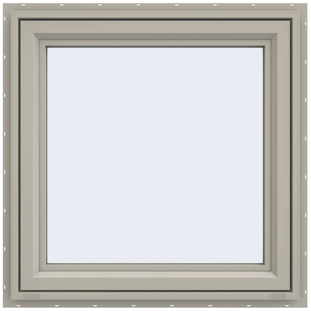35.5 in. x 35.5 in. V-4500 Series Left-Hand Casement Vinyl Window - Tan