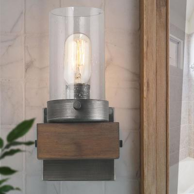 Viney 1-Light Aged Silver Modern Farmhouse Wood Vanity Light with Seeded Glass Shade Wall Sconce