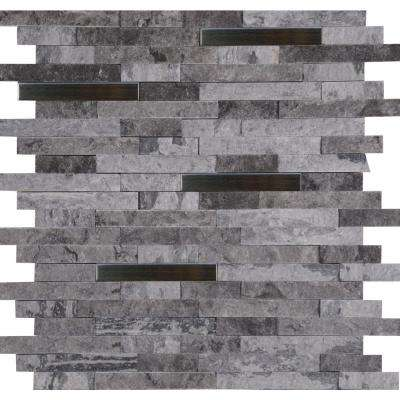 Eclipse Interlocking 12 in. x 12 in. x 8mm Metal Stone Mesh-Mounted Mosaic Wall Tile (10 sq. ft. / case)