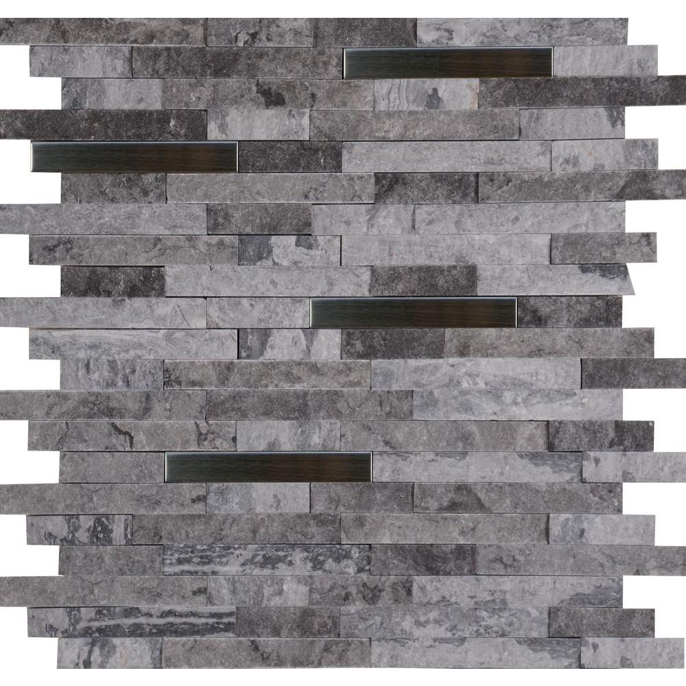 MS International Eclipse Interlocking 12 in. x 12 in. x 8 mm Metal Stone Mesh-Mounted Wall Tile (10 sq. ft. / case)
