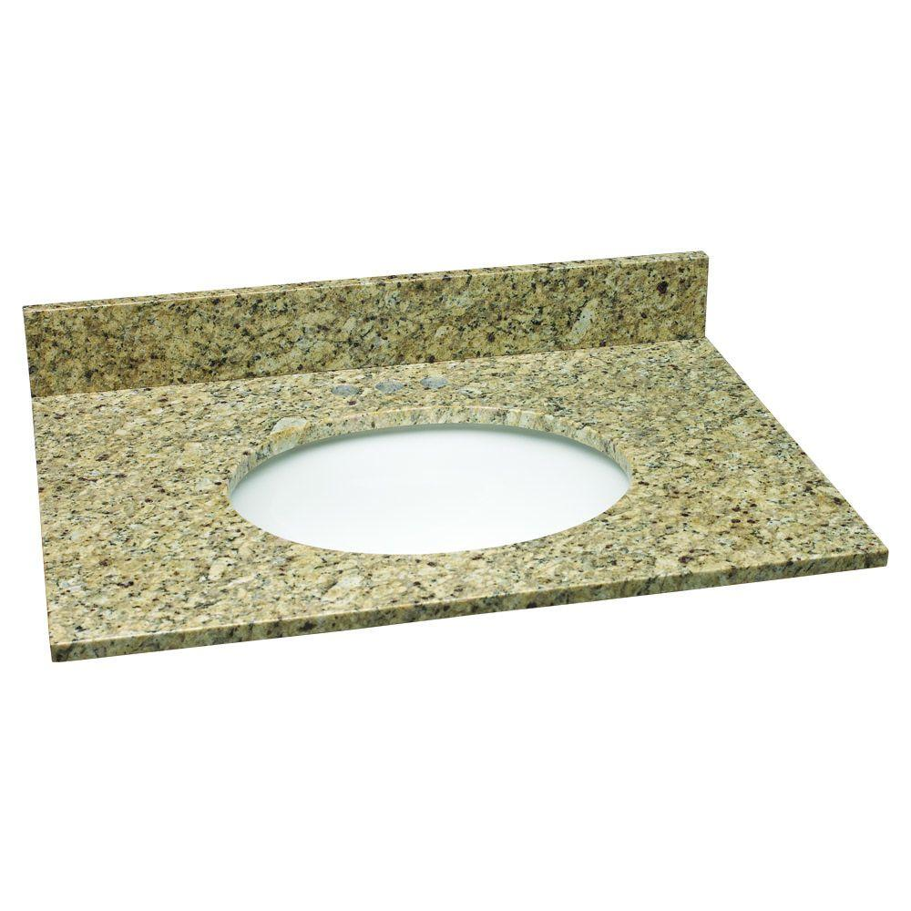 31 in. W Granite Vanity Top in Venetian Gold with White