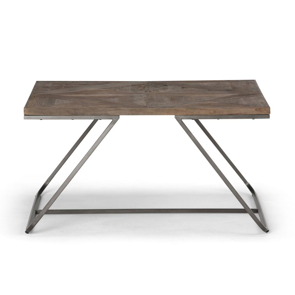 Simpli Home Hailey Distressed Java Brown Wood Inlay Square Coffee Table